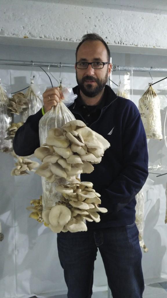 Panos with a bag of mushrooms